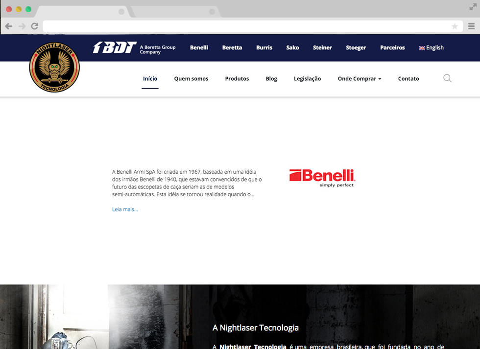 Site Nightlaser - Sessão Benelli