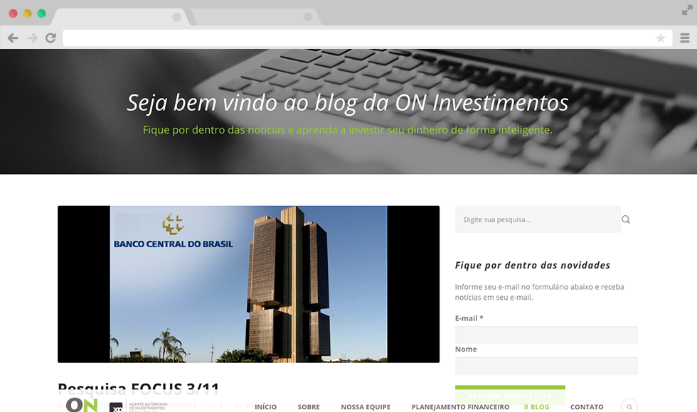 Site ON Investimentos - Blog
