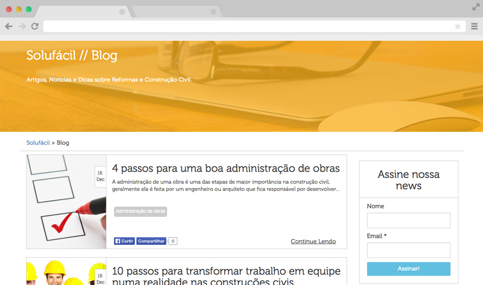 Site Solufácil - Blog