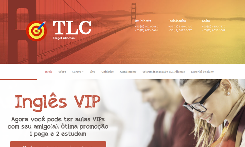 Site TLC Idiomas - Slide home