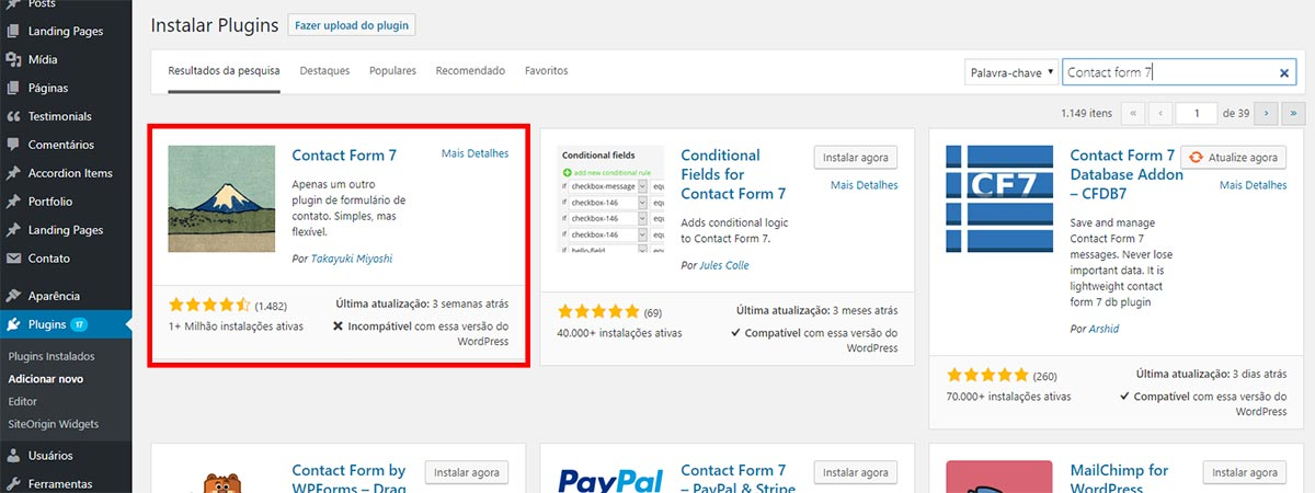 Baixar e instalar o plugin Contact Form 7
